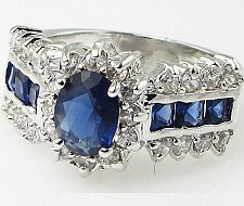 Buy Blue Sapphire Ring Women Lab cz 2.8 CT Stunning Silver Fashion Jewelry