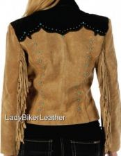 Buy Ladies BROWN Suede Leather FRINGE Designer BLAZER Jacket TURQUOISE & STUD Accent