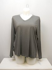 Buy Women Sleep Shirt PLUS SIZE 2X HUE SLEEPWEAR V-Neck Solid Grey Long Sleeves Pull