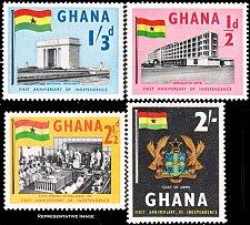 Buy Ghana 1958 Mint lightly hinged stamp set of 4 Scott #17-20
