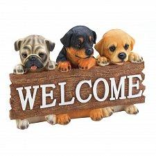Buy *17870U - Puppy Trio Pug Lab Retriever Hanging Wall Welcome Plaque