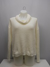 Buy SIZE XL Womens Chenille Sweater NO BOUNDARIES Solid Cream Cowl Neck Long Sleeves
