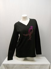 Buy Women Knit Top Size L IN PINK Black Long Sleeves Breast Cancer Awareness V-Neck