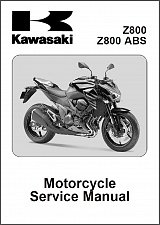 Buy 2013-2014-2015 Kawasaki Z800 ABS Service Manual on a CD