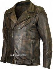 Buy Mens DISTRESSED Brown Leather MOTORCYCLE Jacket EXP PANELS Vents GUN POCKETS