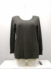 Buy Womens Top Plus Size 1X ALFANI Solid Grey Scoop Neck Long Sleeves Pullover Knit