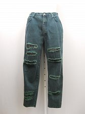 Buy PLUS SIZE 20 Womens Jeans L.A. BLUES Destroyed Green High Waist Tapered 36X30
