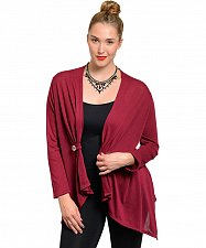 Buy PLUS SIZE 1X-3X Womens Wrap Swing Cardigan BY SPIRYT USA Solid Long Sleeves