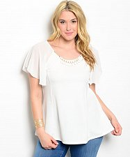 Buy Women Top Size 1XL Solid White Batwing Sleeve Scoop Neck Sheer Yoke Necklace