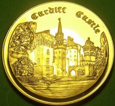 Buy 24k Gold-Plated Proof Cardiff Castle Medallion~37.8mm 20g