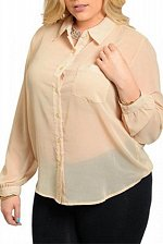 Buy PLUS SIZE 1X Womens Sheer Button Shirt ROMAN Solid Cream Collar Neck Long Sleeve