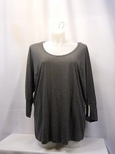 Buy Womens Knit Top Plus Size 1X-3X GRACE Solid Gray Blue Scoop Neck 3/4 Sleeves