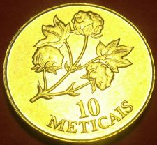 Buy Mozambique 1994 10 Meticais Gem Unc~Cotton Plant~Only Year Minted~Free Shipping