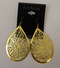 Buy Women Fashion Drop Dangle Earrings Gold Tones Teardrops RANIA Hook Fasteners