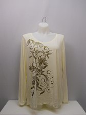 Buy PLUS SIZE 5X Womens Knit Top JUST MY SIZE Glitter Paisley Print V-Neck Long Slee