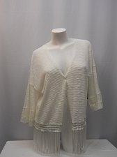 Buy SIZE L Womens Bolero Shrug NO BOUNDARIES Ivory Fringed Wrap Kimono Sleeves