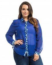 Buy PLUS SIZE 1X-3X Sheer Chiffon Button Shirt ROMAN Blue Cheetah Trim Long Sleeves