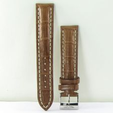 Buy Breitling 722P Crocodile Brown Strap w Wht Stitching Steel Tang 20-18mm New $590