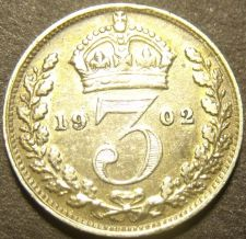 Buy Great Britain 1902 3 Pence Silver~Excellent~Free Shipping