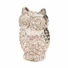 Buy *15866U - Silver Mercury Glass Quilted Owl Figurine