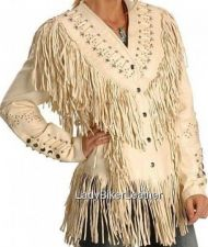 Buy LADIES BIKER Cream NAKED Lamb Leather WESTERN FRINGE Motorcycle WEDDING Jacket