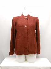 Buy Womens Sweatercoat SIZE L TUDOR COURT Solid Brick Red Long Sleeve Button Front