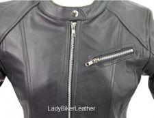 Buy LADIES BIKER Black PREMIUM Leather ZIP Racer MOTORCYCLE Jacket EURO or NO COLLAR