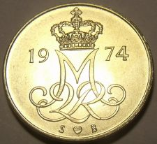 Buy Denmark 1974 H.S.B. 10 Ore Gem Unc~Oak Leaves~Crowned Monogram~Free Shipping