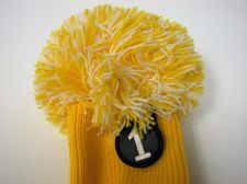 Buy Rocket Tour Knit Pompom Driver 1 Wood Headcover Yellow/White New