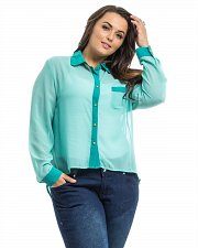 Buy PLUS SIZE 3X Women Sheer Button Shirt Solid Teal ROMAN Long Sleeve Hi-Lo Hem