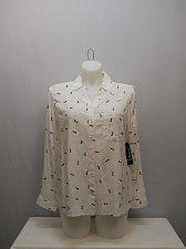 Buy SIZE XL 16 Womens Button Down Shirt GEORGE White Stiletto Print Collared Long Sl