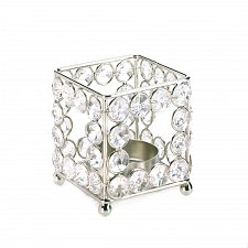 Buy *17512U - Crystal Square Votive Candle Holder Footed Iron Frame