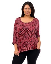 Buy PLUS SIZE 1XL 2XL Top HOT GINGER Coral Black Geometric 3/4 Sleeves Scoop Neck
