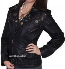 Buy Ladies Biker SOFT Cream OR Black LAMB Leather STUDDED LAPELS Motorcycle Jacket