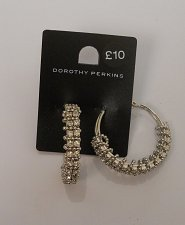 Buy Women Fashion Hoop Earrings Silver Tones Rhinestones Leverback Fastener DOROTHY