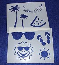Buy 2 Piece Set -Mylar 14 Mil Summer Stencils Painting/Crafts/Stencil/Template