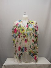 Buy Womens Swimsuit Cover Up Wrap SIZE XL OP Sheer Floral Kimono Sleeves Fringed
