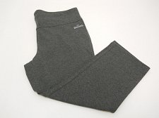 Buy SIZE M Womens Athletic Knit Capris SPALDING Solid Grey Tight Fit Skinny Legs