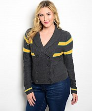 Buy Size 1X 2X 3X Double Breasted Sweater ZENOBIA Gray Shawl Collar Long Sleeves