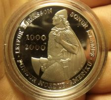 Buy Iceland 2000 1,000 Kronun Silver Proof~Leif Ericsson Millenium~150,000 Minted~FS