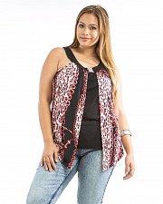 Buy Women Knit Halter Top JR PLUS SIZE 1X DILA Red Animal Print Layered Sleeveless