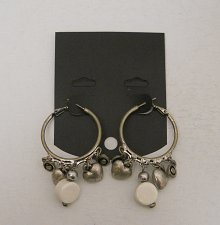 Buy Women Fashion Hoop Earrings Silver Tones Charms Rhinestones Leverbacks Unbranded