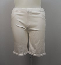 Buy Women Bermuda Jeggings SIZE 2XL Solid White Cuffed Legs Back Pockets Inseam 10
