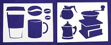 Buy Coffee Themed Stencils-2 Pc Set- Painting/Crafts/Template