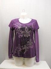 Buy Women T-Shirt Size XL APPROPRIATE BEHAVIOR Purple Long Sleeves Scoop Neck Floral
