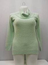 Buy Womens Mitered Tunic Cowl Neck Sweater Size S Medium Knit Solid Green Long Sleev