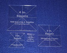"Buy 4 Piece X Square Set- 1"", 2"", 3"",4 1/8"" Clear Acrylic - Quilt Templates- No seam"