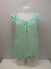 Buy Womens Top Sheer Sexy Lace SIZE XL Solid Mint Square Neck Cap Sleeves