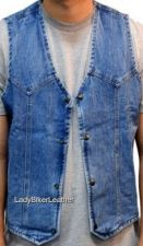 Buy Mens BIKER Black OR Blue DENIM Western MOTORCYCLE Vest ONE PANEL BACK Pockets