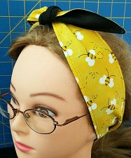 Buy Headband hair wraptie bandana Honey Bee print 100% Cotton